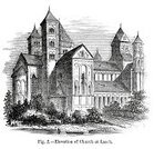 Built Structure,Germany,History,Ilustration,Image Created 19th Century,Abbey,Engraved Image,19th Century Style,Place of Worship,Monastery,Maria Laach Abbey,Styles,Antique,Old-fashioned,Church,Public Building,Eifel,Europe,Central Europe,Old,Architecture,Rhineland-Palatinate,The Past