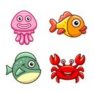 Fish,Sea,Tropical Climate,Octopus,Water,Underwater,Crab,Cartoon,Characters,Vector,Goldfish,Nature