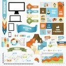Infographic,Vector,People,Ilustration,Diagram,Data,Collection,Computer,Pointing,Laptop,template,Green Color,Arrow Symbol,Computer Graphic,Abstract,Symbol,Backgrounds,Set,Sign,Chart,Business,New,Blue,Orange Color