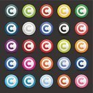 Letter C,Green Color,Gray,Orange Color,Blue,Turquoise,Shadow,Shiny,Pink Color,Purple,Set,Gray Background,Contract,trademarks,Yellow,Red,White,Symbol,Registered,Brown,Vector,Intellectual Property,Black Color,Plastic,Sign,Smooth,Computer Key,Magenta,Icon Set,Interface Icons,Isolated On Gray,Circle,Variation,Patent,Push Button,Design Element