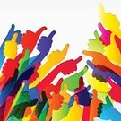 Multi Colored,Thumbs Up,Human Hand,Clip Art,Backgrounds,Vector,Ilustration,Abstract
