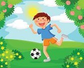 Soccer,Football,Cartoon,Child,Playing,Outdoors,Flower Bed,Vector,Length,Leisure Activity,Exercising,Running,Enjoyment,Formal Garden,Shorts,Grass,Ball,Cute,Nature,Flower,Full,Sport,Practicing,Leisure Games,Sunny,Hobbies,Little Boys,Park - Man Made Space,Summer,Happiness,Healthy Lifestyle,Lifestyles,Cheerful,Activity,Fun