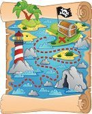 Treasure Chest,Map,Pirate,Treasure,Island,Mystery,Adventure,Paper,Journey,Vector,Plan,Rock - Object,Trunk,Stone,Parchment,Hiding,Water,Palm Tree,Scroll,Direction,Cartoon,Lighthouse,Sea,Danger,Design,Ornate,Ilustration,Reef,Document