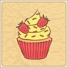 Dessert,Strawberry,Muffin,Greeting Card,Cute,Incomplete,Paper,Food,Sweet Food,Drawing - Art Product,Fruit,Beige,Crumpled,Baking,Decoration,Cake,Cream,Vector,Whipped,Doodle,Wrinkled,Cupcake,Ilustration,hand drawn