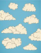 Cloudscape,Cloud - Sky,Day,Old-fashioned,Design,Vector,Drawing - Activity,Sky,Environment,Nature,Drawing - Art Product,Air,Style,Blue,Ilustration,Design Element,Grunge,Fluffy,Swirl,Weather,Color Image,Backgrounds