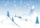 Mountain,Snow,Winter,Landscape,fir-tree,Computer Graphic,Concepts,Snowflake,Ilustration,Holiday,Vector,Nature,Winter,Illustrations And Vector Art,Time,flakes,Blue,Digitally Generated Image,Design Element,Concepts And Ideas