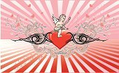 Cupid,Valentine's Day - Holiday,Heart Shape,Tribal Tattoo,Love,Flower,Femininity,Swirl,Springtime,Design Element,Holidays And Celebrations,Valentine's Day,Decoration,Red,Floral Pattern,Ornate,Star Shape