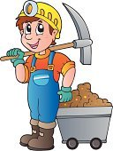 Miner,Pick Axe,Ilustration,Coveralls,Cartoon,Men,Mining,Portrait,Equipment,Mineral,Vector,Cart,Gear,Computer Graphic,Design,Work Helmet,Clip Art,Protective Workwear,Metal Ore,Industry,One Person,Protection,Happiness,Safety,Smiling
