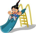 Slide - Play Equipment,Smiling,Sliding,Blue,Playground,Fun,Child,Ladder,Cut Out,Pigtails,Illustration,Cartoon,Braided Hair,Girls,Vector,French Braid