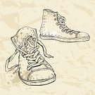 Sketch,Canvas Shoe,Sports Shoe,Shoe,Retro Revival,Cartoon,Line Art,Blob,Sport,Single Line,Fashion,Ilustration,crumpled paper,oldschool,Beige,String,Personal Accessory,Design,Ink,Drawing - Art Product,Paper,Backgrounds,Computer Graphic,Grunge,Dirty,Old-fashioned,Clothing,Boot,Silhouette,Old,hand drawn