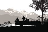 Pick-up Truck,Silhouette,Black Color,Outdoors,Friendship,The Human Body,Tree,People,Computer Graphic,Digitally Generated Image,Ilustration,Wilderness Area,Focus on Shadow,Mountain,Vector,Extreme Terrain,Three People,Men,Outline