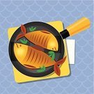 Prepared Fish,Cooking Pan,кулинария,fried fish,Tablecloth,Cooking,Domestic Kitchen,Table