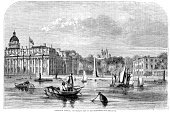 Image Created 19th Century,London,19th Century Style,Old,Thames River,Victorian Style,Styles,Nostalgia,Greater London,History,Image Created 1860-1869,England,Architectural Styles,1860-1869,Northern Europe,Inner London,Architecture,Old-fashioned,Southeast England,UK,Black And White,Europe,River,Victorian Architecture,The Past,Retro Revival,Royal Navy College,Ilustration,Engraved Image,Antique,Greenwich