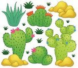 Blossom,Ornate,Cartoon,Computer Graphic,Ilustration,Vector,Isolated,Style,Design,Stone,Variation,Growth,Summer,Drawing - Art Product,Design Element,Clip Art,Plant,Thorn,Shape,Tropical Climate,Nature,Cactus,Eps10