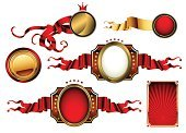 Frame,Gold Colored,Backgrounds,Victorian Style,Ornate,Ilustration,Style,Retro Revival,Shape,Shield,Red,Decor,Ribbon,Set,Design,Symbol,Old,Decoration,White