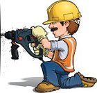 Repairman,Drill,Hardhat,Home Addition,Construction Worker,Ilustration,Power Tool,Mascot,Repairing,Making,Kneeling,Smiling,Avatar,Mechanic,Craftsperson,Cheerful,Humor,Working,Work Glove,Construction Industry,Manual Worker,Drilling,Happiness,Building - Activity,Reflective Clothing,Home Improvement,Men,Cartoon