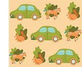 Animal,Squirrel,Forest,Woodland,Car,Horse,Tree,Cute,Happiness,Green Color,Pattern,Beige