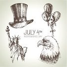 Statue of Liberty,Sketch,Patriotism,Fourth of July,Drawing - Art Product,Politics,Eagle - Bird,Ilustration,Computer Icon,Ink,USA,Freedom,Liberty,Independence,Star Shape,Statue,Celebration,Collection,Balloon,Hat,Holiday,Isolated,Unity,American Culture,The Americas,July,Cultures,National Landmark,Flag,Set,Calendar,Day