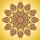Stained Glass,Floral Pattern,Decoration,Pattern,Mosaic,Frame,Ornate,Vector,Decor,Midsection,Ilustration,Abstract,Ethnicity,Yellow,Red,Design Element,Shape,Circle,Backgrounds,Curve,Symmetry
