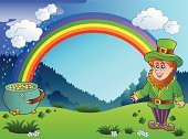 Nature,Weather,Wealth,Luck,One Person,Multi Colored,Springtime,Cloud - Sky,Hat,Irish Culture,Coin,Symbol,Magic,Sky,March,Cartoon,Rain,Art,Cute,Smiling,Drawing - Art Product,Happiness,Success,Characters,Gold,Cultures,Season,Rainbow,Vector,Holiday,Design,Leprechaun,Celtic Culture,Ilustration,Celebration,Men,Cauldron,Treasure