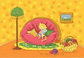 Domestic Cat,Kitten,Sign,Paintings,Child,Sofa,Holding,Animal,Cartoon,Greeting Card,Cute,Electric Lamp,Sitting,floor covering,Outline,Green Color,Wall,Tassel,Childhood,Domestic Room,Embracing,Yellow,Falling,Ilustration,Purple,Fun,Brown,Flower,Flooring,Mouse,Lamp Shade,Picture Frame,Stand Lamp,Cushion,Pillow,Floor Lamp,Shade,Comfortable,Toy