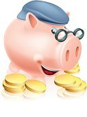 Pension,Cartoon,Retirement,Jar,Home Finances,Social Security,Nest Egg,Characters,Banking,Finance,Pension Plan,Eyeglasses,Insurance,Hat,Computer Icon,Piggy Bank,Smiling,Cap,Gold,Pig,Senior Adult,Currency,Investment,Gold Colored,Coin,Savings