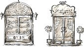 Retail Display,Bakery,Drawing - Art Product,Window,Door,Sign,Black And White,Ilustration,Entrance,Sketch,Architectural Feature,Engraved Image,Pencil Drawing,Store Sign,Cartoon,Backgrounds,Curtain,Welcome Sign,1940-1980 Retro-Styled Imagery,shop-window,Isolated,doorplate,Vector