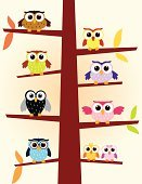 Owl,Family,Multi Colored,Cute,Bird,Vector,Young Animal,Young Bird,Design Element,Animal Themes,Characters,Funky,Modern,big eyes,Set,Night,Animal,Cartoon,Ilustration