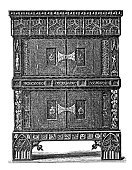 Single Object,Middle Ages,Antique,Engraved Image,Ilustration,No People,European Culture,Decoration,Closet,People,Vertical,The Past,Antiquities,Image Created 19th Century,Ancient,Renaissance,Front View,Europe,Man Made Object,Medieval,Indigenous Culture,Engraving,Circa 15th Century,Souvenir,Cabinet,Archaeology,Furniture