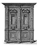Closet,Cultures,Ilustration,Filing Cabinet,Middle Ages,Single Object,Engraved Image,No People,Antique,Old-fashioned,Europe,Cityscape,Front View,Antiquities,European Culture,Ancient Civilization,Engraving,People,Vertical,Decoration,Man Made Object,Furniture,Ancient,Renaissance,Image Created 17th Century,Archaeology,Indigenous Culture,Medieval,Image Created 19th Century