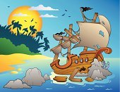 Shipwreck,Cartoon,Ruined,History,Computer Graphic,Wood - Material,Hole,Beach,Breaking,Old-fashioned,Art,Sail,Ilustration,Antique,Nautical Vessel,Seascape,Anchor,Coastline,Sea,Drawing - Art Product,Banner,Broken,Danger,Wreck,Stone,Plank,Vector,Damaged,Old,Pirate,Ship,Design,Water's Edge,Rock - Object,Sun,Water