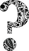 Alphabet,Black Color,Nature,Leaf,Symbol,Question Mark,Ornate,Floral Pattern,Ilustration,Swirl,Typescript,Computer Graphic