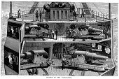 Warship,Engraved Image,British Military,Military,Styles,History,Cannon,Crew,Image Created 19th Century,Old-fashioned,Boat Deck,Weapon,Sailing Ship,Vessel Part,19th Century Style,Armed Forces,Mode of Transport,Cross Section,Ironclad,War,Antique,Military Ship,Gun,Victorian Style,Sailor,Royal Navy,Retro Revival,Battleship,Nostalgia,The Past,Historical Ship,Obsolete,Navy,Nautical Vessel,Old,Black And White,Ilustration