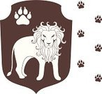 Lion - Feline,Paw Print,Footprint,Paw,Symbol,Animal,Carnivore,Animals In The Wild,Design Element,Brown,Vector,Label,Old-fashioned,Wildlife