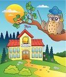 Schoolhouse,Architecture,Outdoors,Owl,Fantasy,Imagination,Cap,Hat,Animal,Front or Back Yard,educative,Art,Cartoon,Entrance,Design,Footpath,Bell,Learning,Computer Graphic,Vector,Education,Rural Scene,Non-Urban Scene,Building Exterior,Ilustration,Wisdom,Teacher,Bird,Eyeglasses,Intelligence,Entrance,Drawing - Art Product,Built Structure,Hill,School Building,Teaching