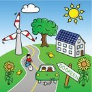 Electric Car,Energy Efficient,Renewable Energy,Backgrounds,Comic Book,Cycling,Landscape,Cloud - Sky,Wind Turbine,Sky,Green Color,Nature,Cyclist,Environmental Conservation,Vector,Alternative Energy,Sustainable Resources,Cloudscape,Bicycle,Solar Panel,Road,Ilustration,Outdoors,Horizon,Land,Environment,Horizon Over Land,Solar Energy,Wind Power,Sun,Street,Landscaped,Cartoon,Ecosystem,go green,Sign,ecologically,Grass