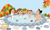 Hot Tub,Autumn,Clear Sky,Manga Style,Outdoors,Daughter,Japanese Culture,Recreational Pursuit,Mother,Japanese Fall Foliage,Ryokan,Japanese Ethnicity,Joy,Season,Youth Culture,行楽,Cartoon,Open-air Bath,Japan,Travel,Ilustration,Bathtub,Family,Relaxation,Enjoyment,Nature,Fun,Child,Hot Spring,Cute,Japanese Maple,Cheerful,Son,Towel,Four People,Leisure Activity,Day,Mountain,Offspring,Father,Vector