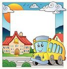 Schoolhouse,School Bus,Education,School Building,Street,Vector,Building Exterior,Travel,Elementary Age,Ilustration,Design,Elementary School,Land Vehicle,Cartoon,Bell,Built Structure,Learning,Town,Drawing - Art Product,Bus,educative,People,Composition,Frame,Computer Graphic,Transportation,Outdoors,Art