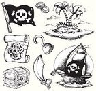 Treasure Chest,Coin,Pirate,Map,Cartoon,Sea,Human Skull,Scroll,Banner,Plan,Black And White,Palm Tree,Vector,Nautical Vessel,Drawing - Art Product,Trunk,Ilustration,Parchment,Monochrome,Group of Objects,Sword,Island,Danger,Flag,Weapon,Design,Computer Graphic,Art,Clip Art,Sail,Saber,Hook,Ship