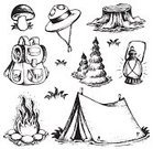 Camping,Campfire,Tree Stump,Tent,Lantern,Summer Camp,Black And White,Vector,Outdoors,Group of Objects,Variation,Vacations,Mushroom,Summer,Design,Fire - Natural Phenomenon,Set,Bag,Collection,Ilustration,Monochrome,Edible Mushroom,Backpack,Recreational Pursuit,Adventure,Tree,Season,Equipment,Hat,Cap,Clip Art,Drawing - Art Product,Art,Computer Graphic,Cartoon