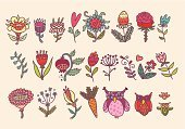 Drawing - Art Product,Single Flower,Flower,Owl,Green Color,Blue,Love,Nature,Pink Color,Leaf,Springtime,Design,Animal,Backgrounds,Branch,Carrot,Gardening,Retro Revival,Bird,Summer,Style,Vector,Abstract,Flower Bed,Cute,Cartoon,Ornate,Computer Graphic