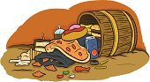 Chicken Wing,Potato Chip,French Fries,Hamburger,Hot Dog,Donut,Pizza,Variation,Soda,Jellybean,Cookie,Ice Cream,Overweight,Still Life,Spilling,Cornucopia,Messy,Abundance,Food And Drink,Barrel,Candy,Cake,Nachos,Vector,Iced Coffee,Ilustration,Sketch,Healthy Eating,Unhealthy Eating,Cartoon