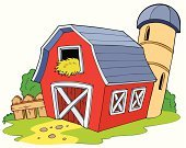 Barn,Farm,Red,Cartoon,Vector,Hay,Non-Urban Scene,Silo,Ilustration,Grass,Plank,Granary,Drawing - Art Product,Art,Tower,Summer,Building Exterior,Rural Scene,Design,Clip Art,grainery,Built Structure,Fence,Tall,Colors,Agriculture,Computer Graphic