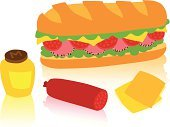 Sandwich,Ilustration,Green Color,Yellow,Refreshment,Slice,Snack,Lunch,Jar,Peppered Ham,Bread,Meat,Baguette,Lettuce,Pepper,Salami,Cheese,Food,Classic,Reflection,Dijon Mustard,Ham,Chopped,Pepperoni,Vector,Mustard