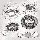 Comic Book,Exploding,Pattern,Vector,Black Color,Cloud - Sky,Cartoon,Speech Bubble,Ilustration,No People,Boom,Bang,Drawing - Art Product,Copy Space,Set,Spotted,Placard,Backgrounds,Gray,Label,Frame,Abstract,Collection