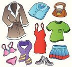 Vector,Fashion,Group of Objects,Ilustration,Cartoon,Collection,Shirt,Purse,Style,Set,Design Element,Coat,Personal Accessory,Shoe,Skirt,Scarf,Boot,Bag,Dress,Clothing,Clip Art,neckscarf,Design,Drawing - Art Product,Art,Bra,Computer Graphic,Variation,Colors,Elegance,Isolated