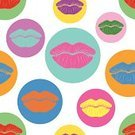 Lipstick Kiss,Human Lips,Pop Art,Yellow,Circle,Seamless,Backgrounds,Lipstick,Pink Color,Pattern,Fashionable,Green Color,Blue,Vibrant Color,Orange Color,1940-1980 Retro-Styled Imagery,Funky,Vector,Mottled,Multi Colored,Red,Purple