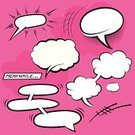 Gossip,Humor,Communication,Modern,Ideas,Design,Symbol,Sign,Discussion,Speech Bubble,Ilustration,Vector,Halftone Pattern,Cartoon,Speech,Thinking,Talking,Fun