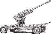 Military,Single Object,Obsolete,Ilustration,Sketch,Heavy,Artillery,Isolated On White,Candid,Cannon,Metal,Anti-aircraft Gun,20 Century,Artillery Gun,Drawing - Art Product,Weapon,War,Side View,Army,Wheel