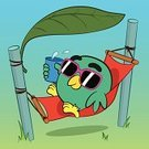 Bird,Cartoon,Sunbathing,Vacations,Hammock,Pole,Men,Design,Cute,Eyeglasses,Shadow,Summer,Glass,Relaxation,Multi Colored,Concepts,Enjoyment,Tropical Climate,Fun,Heat - Temperature,Lying Down,Sunglasses,Funky,Leisure Activity,Characters,Cool,Leaf,Pink Color,Shade,Comfortable,Tourist Resort,Sunlight,Drink,Summer Resort,Ilustration,Lifestyles